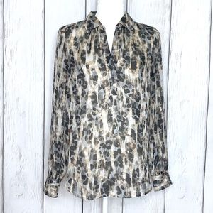 Loft Black & Gray Sheer Leopard Print Blouse